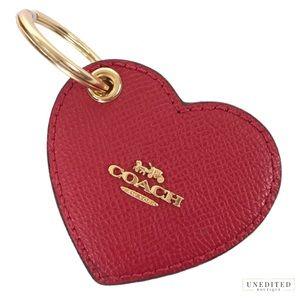 NWT - COACH Leather Heart Key Fob, True Red